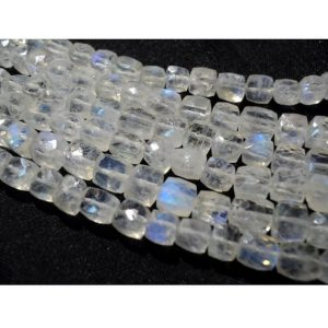 Shop Moonstone Bead Shapes! Rainbow Moonstone / Moonstone Beads / Box Beads / Faceted Moonstone / 5mm Each / 38 Pieces / 8 Inch Strand | Natural genuine other-shape Moonstone beads for beading and jewelry making.  #jewelry #beads #beadedjewelry #diyjewelry #jewelrymaking #beadstore #beading #affiliate #ad