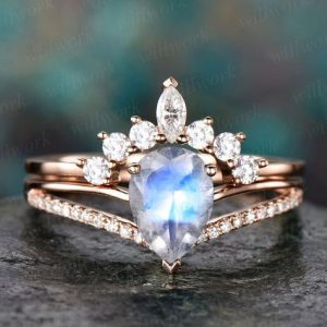 Shop Moonstone Engagement Rings! 2pc natural moonstone engagement ring set rose gold diamond moissanite ring band marquise vintage stack crown women wedding bridal ring set | Natural genuine Moonstone rings, simple unique alternative gemstone engagement rings. #rings #jewelry #bridal #wedding #jewelryaccessories #engagementrings #weddingideas #affiliate #ad