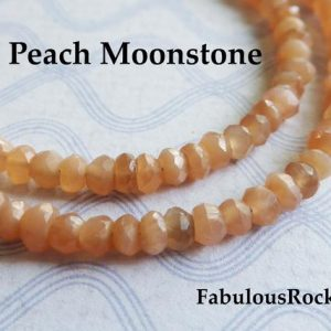"Shop Moonstone Rondelle Beads! Natural MOONSTONE Gemstone Beads Rondelles, 13"" Strand, 3-4 mm pick Peach, Rainbow, Multi Chocolate Moonstone, Luxe AAA, June Birthstone 34 