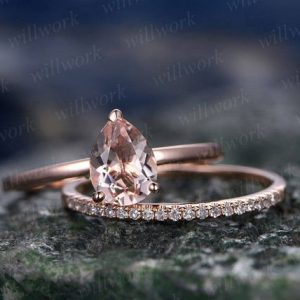 Morganite engagement ring set-handmade Solid 14k Rose gold ring-Real Pave Diamond band-6x8mm Tear Dropped cut  promise ring-Bridal Ring set | Natural genuine Array rings, simple unique alternative gemstone engagement rings. #rings #jewelry #bridal #wedding #jewelryaccessories #engagementrings #weddingideas #affiliate #ad