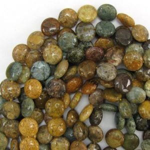 "14mm natural ocean jasper coin beads 15.5"" strand 