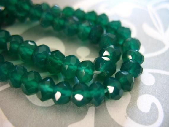 1/2 Strand, Green Onyx Rondelles, Luxe Aaa, 3.5-4 Mm, Faceted .. May Birthstone Emerald Green Spring