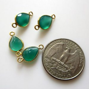 8 Pieces 11x9mm Natural Green Onyx Faceted Pear 925 Silver Bezel Gemstone Connector Charm, Single / double Loop Onyx Pear Charms, Gds1640 | Natural genuine beads Gemstone beads for beading and jewelry making.  #jewelry #beads #beadedjewelry #diyjewelry #jewelrymaking #beadstore #beading #affiliate #ad