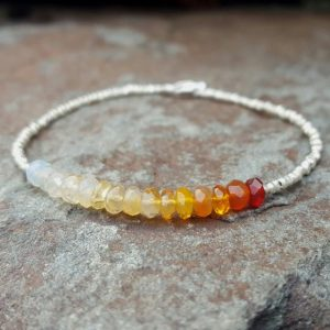 Mexican Fire Opal Bracelet Fire Opal Bracelets Fire Opal Beaded Bracelet Womens Gift October Birthstone Bracelet Fire Opal Bead Bracelet | Natural genuine Opal bracelets. Buy crystal jewelry, handmade handcrafted artisan jewelry for women.  Unique handmade gift ideas. #jewelry #beadedbracelets #beadedjewelry #gift #shopping #handmadejewelry #fashion #style #product #bracelets #affiliate #ad
