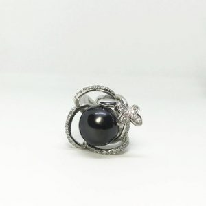 Shop Pearl Rings! Sterling Silver Swirl Style Natural Tahitian Black Pearl (11.5 mm in Diameter) Ring, Appraised 2,250 CAD | Natural genuine Pearl rings, simple unique handcrafted gemstone rings. #rings #jewelry #shopping #gift #handmade #fashion #style #affiliate #ad