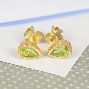 Shop Peridot Earrings! Gold Gemstone Peridot Earrings, Gold Studs, Gold Peridot Studs, Teardrop Studs, Natural Stone Earrings, Green Gemstone Earrings, Embers | Natural genuine Peridot earrings. Buy crystal jewelry, handmade handcrafted artisan jewelry for women.  Unique handmade gift ideas. #jewelry #beadedearrings #beadedjewelry #gift #shopping #handmadejewelry #fashion #style #product #earrings #affiliate #ad