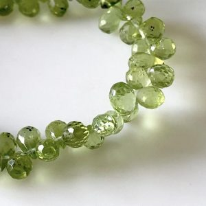 Shop Peridot Bead Shapes! Natural Peridot Faceted Teardrop Briolette Beads 5mm To 6mm Green Peridot Teardrop Beads Sold As 8 Inches & 4 Inches, GDS1677 | Natural genuine other-shape Peridot beads for beading and jewelry making.  #jewelry #beads #beadedjewelry #diyjewelry #jewelrymaking #beadstore #beading #affiliate #ad