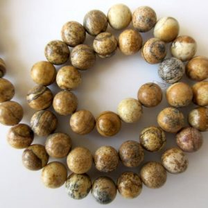 Shop Picture Jasper Round Beads! Picture Jasper Large Hole Gemstone beads, 8mm Picture Jasper Smooth Round Beads, Drill Size 1mm, 15 Inch Strand, GDS544 | Natural genuine round Picture Jasper beads for beading and jewelry making.  #jewelry #beads #beadedjewelry #diyjewelry #jewelrymaking #beadstore #beading #affiliate #ad