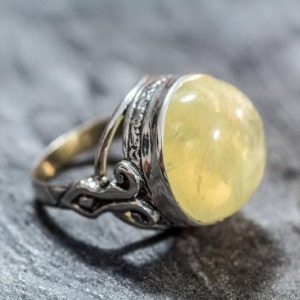 Shop Prehnite Rings! Prehnite Ring, Natural Prehnite, May Birthstone Ring, Yellow Ring, Vintage Rings, Yellow Stone, Birthstone Ring, Solid Silver Ring, Prehnite | Natural genuine Prehnite rings, simple unique handcrafted gemstone rings. #rings #jewelry #shopping #gift #handmade #fashion #style #affiliate #ad