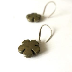 Shop Pyrite Earrings! Pyrite Earrings – Sterling Silver Jewelry – Gemstone Jewellery – Fools Gold – Fashion – Mod – Funky – Flowers | Natural genuine Pyrite earrings. Buy crystal jewelry, handmade handcrafted artisan jewelry for women.  Unique handmade gift ideas. #jewelry #beadedearrings #beadedjewelry #gift #shopping #handmadejewelry #fashion #style #product #earrings #affiliate #ad