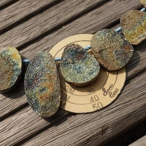 Rainbow Pyrite freeform beads 10.5-23.5mm (ETB00810) Rare gemstones/exotic Russian/Unique jewelry/Vintage jewelry/Gemstone necklace | Natural genuine beads Gemstone beads for beading and jewelry making.  #jewelry #beads #beadedjewelry #diyjewelry #jewelrymaking #beadstore #beading #affiliate #ad