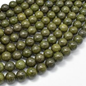 Shop Pyrite Round Beads! Epidote-Pyrite Inclusion, 8mm(8.3mm) Round beads, 15.5 Inch, Full strand, Approx 48 beads, Hole 1mm (261054002) | Natural genuine round Pyrite beads for beading and jewelry making.  #jewelry #beads #beadedjewelry #diyjewelry #jewelrymaking #beadstore #beading #affiliate #ad