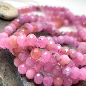 Shop Quartz Crystal Faceted Beads! Pink Crystal faceted Rondelle beads 6mm / Quartz Gemstone  Beads / Choose Quantity | Natural genuine faceted Quartz beads for beading and jewelry making.  #jewelry #beads #beadedjewelry #diyjewelry #jewelrymaking #beadstore #beading #affiliate #ad