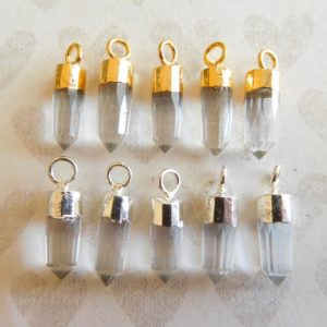 Shop Quartz Crystal Bead Shapes! Spike Points Charm Pendant, Tiny Small Petite / Crystal Quartz, 13-15×5 mm / april birthstone wholesale gcp20 gc ll | Natural genuine other-shape Quartz beads for beading and jewelry making.  #jewelry #beads #beadedjewelry #diyjewelry #jewelrymaking #beadstore #beading #affiliate #ad