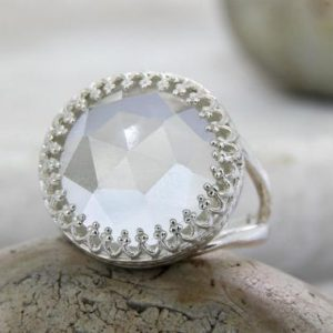 Shop Quartz Crystal Rings! Crystal Quartz Ring, statement Ring, cocktail Ring, lace Ring, silver Ring, gemstone Ring, birthday Ring, daughter Ring | Natural genuine Quartz rings, simple unique handcrafted gemstone rings. #rings #jewelry #shopping #gift #handmade #fashion #style #affiliate #ad
