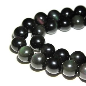 "Shop Rainbow Obsidian Beads! 2.0mm Hole Rainbow Obsidian Smooth Round Beads 6mm 8mm 10mm 15.5"" Strand 