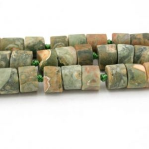 Shop Rainforest Jasper Beads! Matte Rainforest Rhyolite Thin cylinder beads 6.5-7mm (ETB00362) Unique jewelry/Vintage jewelry/Gemstone necklace | Natural genuine other-shape Rainforest Jasper beads for beading and jewelry making.  #jewelry #beads #beadedjewelry #diyjewelry #jewelrymaking #beadstore #beading #affiliate #ad