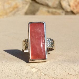 Shop Rhodochrosite Rings! Hammered Silver Ring with Rhodochrosite, Oblong Stone Sterling Silver Ring, Christmas Gift Jewellery Ideas | Natural genuine Rhodochrosite rings, simple unique handcrafted gemstone rings. #rings #jewelry #shopping #gift #handmade #fashion #style #affiliate #ad