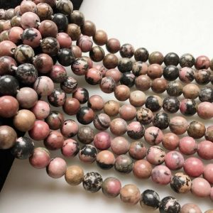 """Shop Rhodonite Beads! 2.0mm Hole Rhodonite Smooth Round Size 8mm 10mm 15.5"""" Strand 