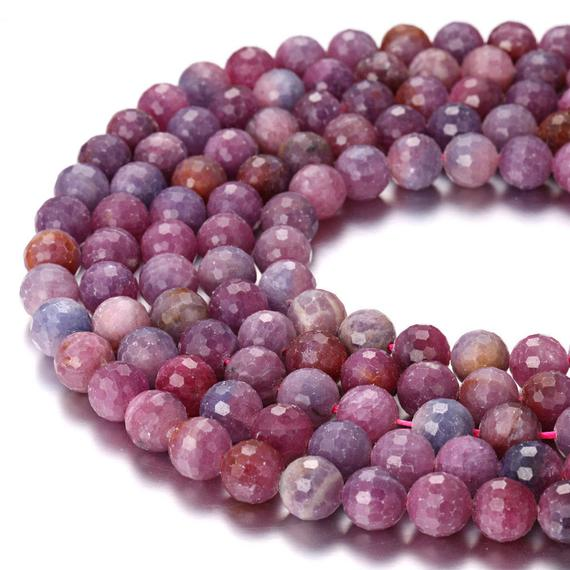 "Genuine Ruby Faceted Round Beads 4mm 5mm 6mm 7mm 8mm 9mm 10mm 11mm 15.5"" Strand"