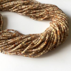 Shop Rutilated Quartz Faceted Beads! 2mm Faceted Copper Rutilated Quartz Round Rondelles Beads, Excellent Quality Uniform Cut, 13 Inch Strand, GDS523 | Natural genuine faceted Rutilated Quartz beads for beading and jewelry making.  #jewelry #beads #beadedjewelry #diyjewelry #jewelrymaking #beadstore #beading #affiliate #ad