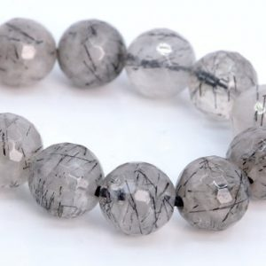 "Shop Rutilated Quartz Faceted Beads! 9-10MM Black Rutilated Quartz Beads AAA Genuine Natural Gemstone Half Strand Micro Faceted Round Beads 7.5"" Bulk Lot Options (107253h-2319) 