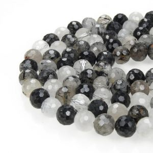 "Black Tourmalinated Quartz Faceted Round Beads 4mm 6mm 7mm 8mm 10mm 15.5"" Strand 