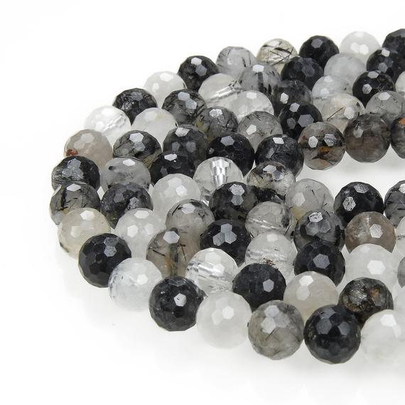 """Black Tourmalinated Quartz Faceted Round Beads 4mm 6mm 7mm 8mm 10mm 15.5"""" Strand"""