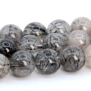 Black Rutilated Quartz Beads Genuine Natural Brazil Grade A Gemstone Round Loose Beads 6MM 7-8MM 10MM 12MM Bulk Lot Options | Natural genuine round Rutilated Quartz beads for beading and jewelry making.  #jewelry #beads #beadedjewelry #diyjewelry #jewelrymaking #beadstore #beading #affiliate #ad
