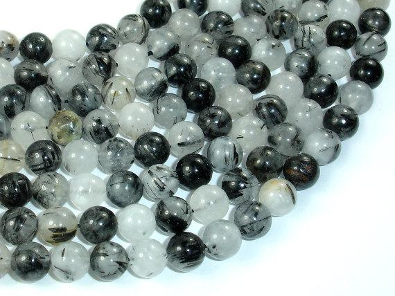 Black Rutilated Quartz Beads, 8mm Round Beads, 15.5 Inch, Full Strand, Approx 48 Beads, Hole 1mm (143054002)