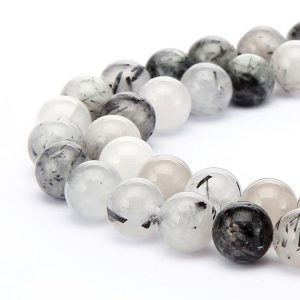 "Black Tourmalinated Quartz Smooth Round Beads 4mm 6mm 8mm 10mm 12mm 14mm 15.5"" Strand 