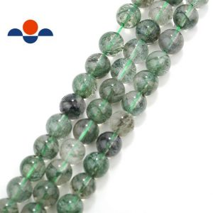 "Green Rutilated Quartz Smooth Round Beads 4mm 6mm 8mm 10mm 12mm 15.5"" Strand 