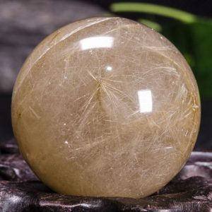"Shop Rutilated Quartz Shapes! 1.61""Rare Golden Rutilated Quartz Crystal Sphere/Golden Threads Included Sphere/Copper Rutilated Crystal Ball/Rutilated Quartz-41mm107g#9756 