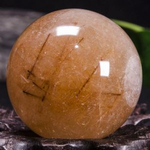 "Shop Rutilated Quartz Shapes! 1.77""Rare Golden and Red Rutilated Quartz Sphere/Golden Threads Included in Crystal Sphere/Gold Needles Inside Crystal Ball-45mm 140g #9741 