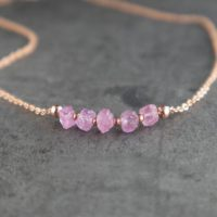 Pink Sapphire Necklace, Raw Sapphire Necklace, Pink Necklace, Dainty Raw Crystal Necklace, September Birthstone Necklace | Natural genuine Gemstone jewelry. Buy crystal jewelry, handmade handcrafted artisan jewelry for women.  Unique handmade gift ideas. #jewelry #beadedjewelry #beadedjewelry #gift #shopping #handmadejewelry #fashion #style #product #jewelry #affiliate #ad