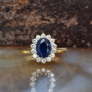 Sapphire Engagement Ring Vintage Oval Shaped Ring-sapphire Halo Ring-anniversary Ring-blue Sapphire Engagement Ring-14k Sapphire Ring | Natural genuine Sapphire rings, simple unique alternative gemstone engagement rings. #rings #jewelry #bridal #wedding #jewelryaccessories #engagementrings #weddingideas #affiliate #ad
