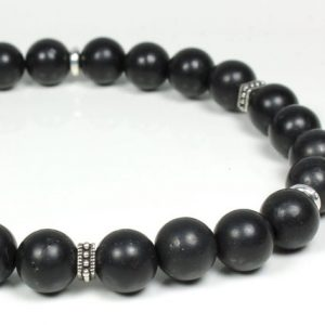 Shungite Stretch Bracelet Womens Mens Natural Black Gemstone Beaded Healing Protection Energy Balance Mala Holiday Gift for Her Him 5772 | Natural genuine Gemstone bracelets. Buy handcrafted artisan men's jewelry, gifts for men.  Unique handmade mens fashion accessories. #jewelry #beadedbracelets #beadedjewelry #shopping #gift #handmadejewelry #bracelets #affiliate #ad