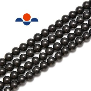 "Natural Shungite Smooth Round Beads 4mm 6mm 8mm 10mm 12mm 15.5"" Strand 