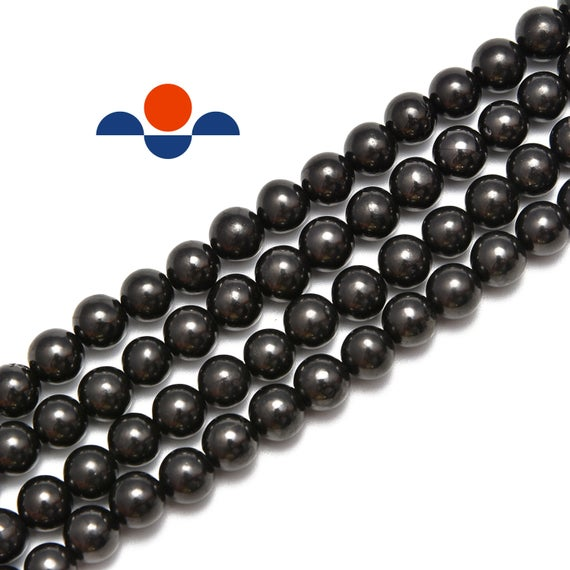 "Natural Shungite Smooth Round Beads 4mm 6mm 8mm 10mm 12mm 15.5"" Strand"