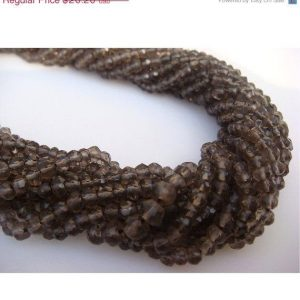 Shop Smoky Quartz Faceted Beads! Smoky Quartz, Micro Faceted Rondelle Beads – 14 Inch Strand – 3mm Each | Natural genuine faceted Smoky Quartz beads for beading and jewelry making.  #jewelry #beads #beadedjewelry #diyjewelry #jewelrymaking #beadstore #beading #affiliate #ad
