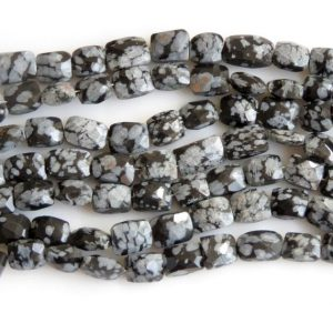 Shop Snowflake Obsidian Bead Shapes! Snowflake Obsidian Faceted Beads, Faceted Obsidian Rectangle Shape Gemstone Beads, 7mm To 8mm Snowflake Obsidian, 8 Inch Strand, Gds1345 | Natural genuine other-shape Snowflake Obsidian beads for beading and jewelry making.  #jewelry #beads #beadedjewelry #diyjewelry #jewelrymaking #beadstore #beading #affiliate #ad
