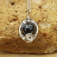 Small Snowflake Obsidian Pendant. Reiki Jewelry Uk. Virgo Jewelry. Oval Frame Necklace. Silver Plated Wire Wrapped Pendant. 10mm Stone   Natural genuine Gemstone jewelry. Buy crystal jewelry, handmade handcrafted artisan jewelry for women.  Unique handmade gift ideas. #jewelry #beadedjewelry #beadedjewelry #gift #shopping #handmadejewelry #fashion #style #product #jewelry #affiliate #ad