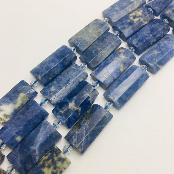 """Sodalite Faceted Flat Rectangle Cylinder Tube Beads 14x28mm 15.5"""" Strand"""