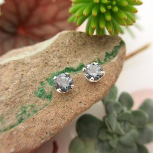 Shop Spinel Jewelry! Gray Spinel Earrings: Solid 14k Gold Or Platinum Studs | Everyday Jewelry For Men Or Women | Made In Oregon | Natural genuine Spinel jewelry. Buy handcrafted artisan men's jewelry, gifts for men.  Unique handmade mens fashion accessories. #jewelry #beadedjewelry #beadedjewelry #shopping #gift #handmadejewelry #jewelry #affiliate #ad