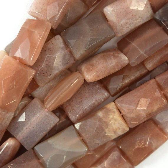 """18mm Faceted Sunstone Rectangle Beads 15"""" Strand 40384"""