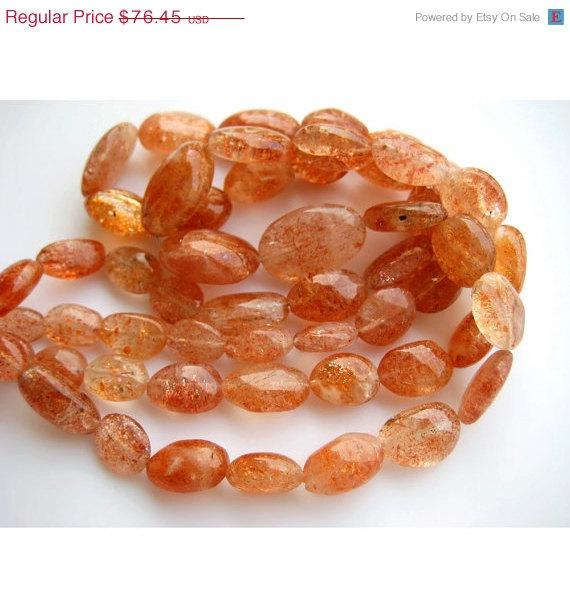 Sunstone Beads, Plain Oval Beads, 8x13mm To 14x20mm Beads, 14 Pieces, 7.5 Inch Strand, Wholesale Price