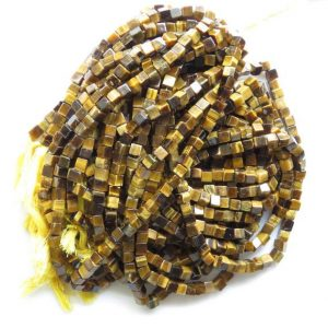 Shop Tiger Eye Bead Shapes! AAA Natural Tiger Eye Smooth Box Beads, Tigers Eye Plain Box Beads, Tiger Eye Cubes, Tiny 5mm Tiger Eye Box Beads, 13 Inch Strand, GDS1346 | Natural genuine other-shape Tiger Eye beads for beading and jewelry making.  #jewelry #beads #beadedjewelry #diyjewelry #jewelrymaking #beadstore #beading #affiliate #ad