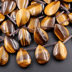 "Shop Tiger Eye Bead Shapes! Large Natural Tiger Eye Teardrop Pendant Beads Stunning AAA Quality Top Side Drilled Golden Brown Gemstone 15.5"" Strand 