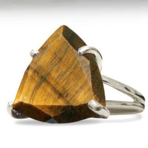Shop Tiger Eye Jewelry! Tiger Eye Ring · Sterling Silver Gem Ring · Gifts For Mom · Gift For Grandma · Trillion Cut Ring · Tiger Eye Jewelry | Natural genuine Tiger Eye jewelry. Buy crystal jewelry, handmade handcrafted artisan jewelry for women.  Unique handmade gift ideas. #jewelry #beadedjewelry #beadedjewelry #gift #shopping #handmadejewelry #fashion #style #product #jewelry #affiliate #ad