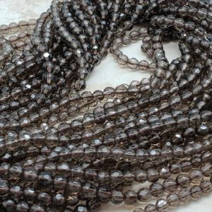 Shop Topaz Faceted Beads! 4mm Smoky Quartz Faceted Round Beads, 15.5 inch | Natural genuine faceted Topaz beads for beading and jewelry making.  #jewelry #beads #beadedjewelry #diyjewelry #jewelrymaking #beadstore #beading #affiliate #ad